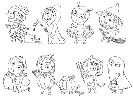 schoolchild: Happy Halloween, Funny little children in colorful costumes Illustration