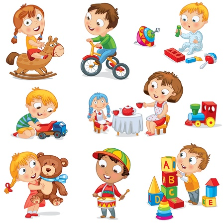 Children play with toys, Girl riding horse, hugging teddy bear Stock Vector - 16907660