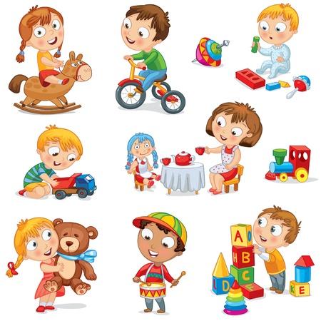spielen: Kinder spielen mit Spielzeug, Mädchen reiten, umarmt Teddybären Illustration
