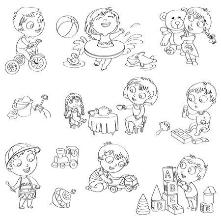 Plays with doll, boy sitting on a tricycle, playing with toy car Vector