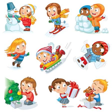 Winter holidays, Snowman, skating, skiing, sledding Vector