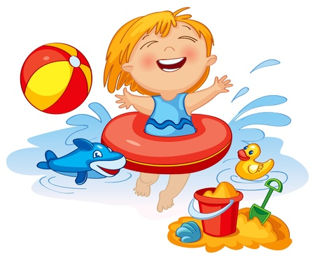 Funny little girl swims in a sea in an red life preserver Vector