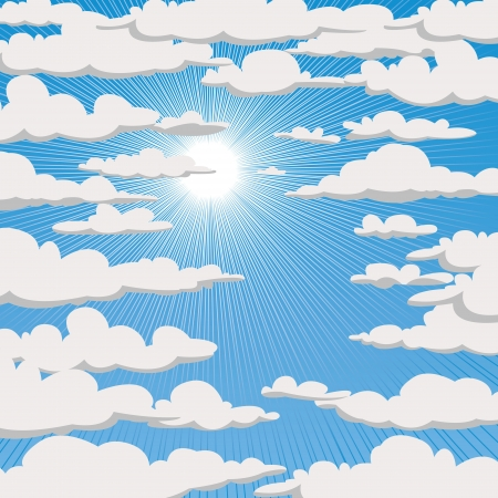 Blue sky with clouds and sun, Vector illustration Vector