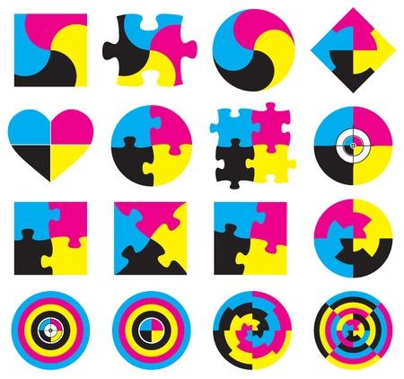 prepress: Creative CMYK logo or icon design collection over white