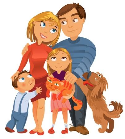 retratos: Fam�lia feliz de quatro e dois animais de estima��o, posando juntos, vetor