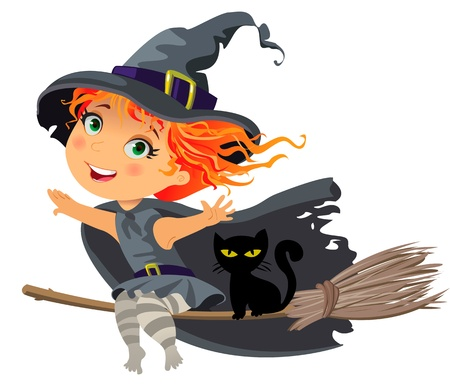 flying hat: Happy Halloween, Little witch flying on a broom, vector Illustration