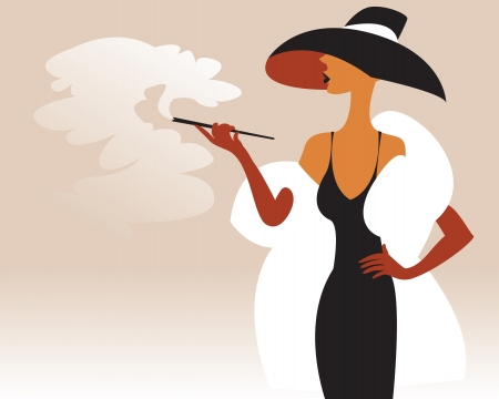 Woman in a fur coat and hat with a cigarette in his hand Vector