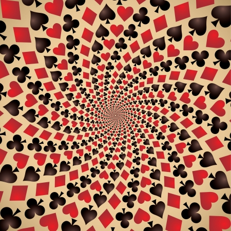 wager: Hearts, diamonds, spades and clubs, Playing cards, Op art