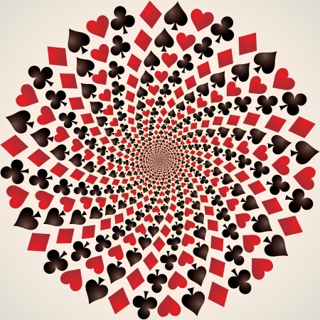 Card suit, Hearts, diamonds, spades and clubs, Op art Stock Vector - 16864147