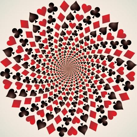 optical art: Traje de tarjeta, corazones, diamantes, picas y palos, arte Op