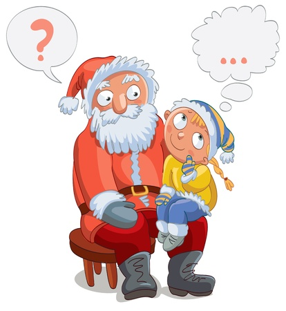 on lap: Little girl sitting on Santa s lap and make a wish, vector Illustration