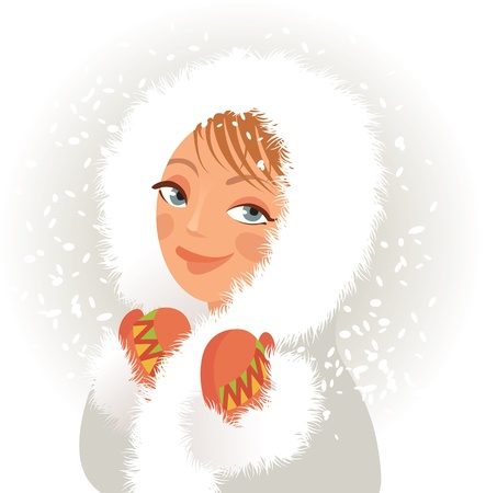 Cute young girl in a fur coat and mittens, sweet smiles Vector