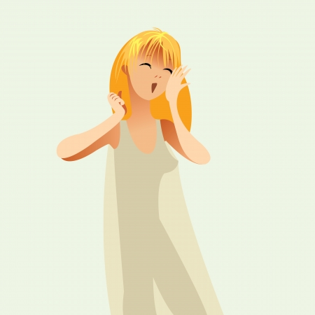 oneself: Good morning, Girl woke up in a nightie and yawns, vector