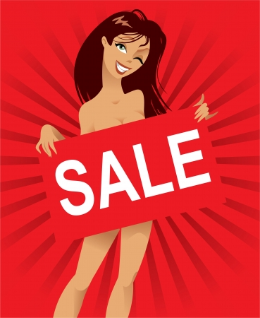 young girl nude: Beautiful nude woman with a poster, inscription sale, vector