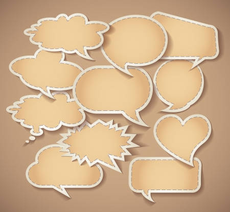 Speech bubbles Cardboard, Set, Vector illustration eps 10 Vector