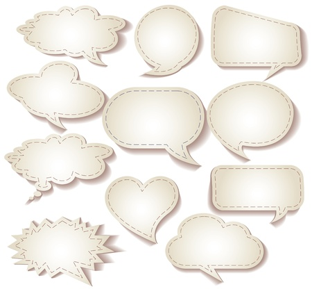 Speech bubbles cut from paper, Set, Vector illustration Vector