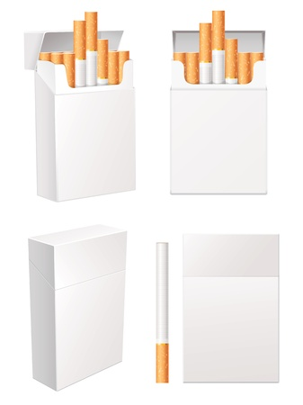 cigarette: Collection of blank cigarette pack, Isolated on white background Illustration