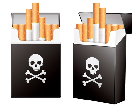 On the dangers of smoking, pack of cigarettes, Jolly Roger Stock Vector - 16955573