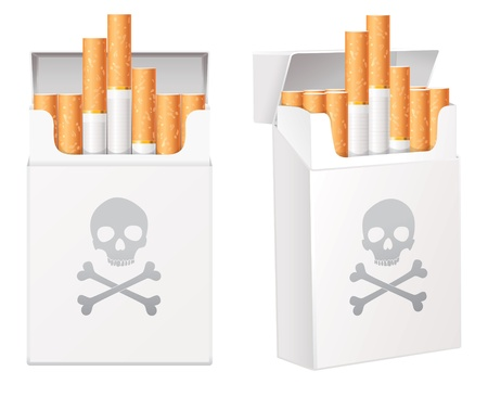 White pack of cigarettes with the image of the Jolly Roger Stock Vector - 16904775