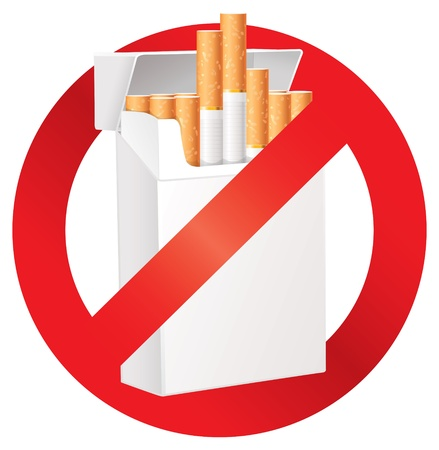 No smoking, On the dangers of smoking, Cigarette pack Vector