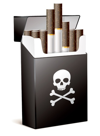 Black pack of cigarettes with the image of the Jolly Roger Stock Vector - 16907650