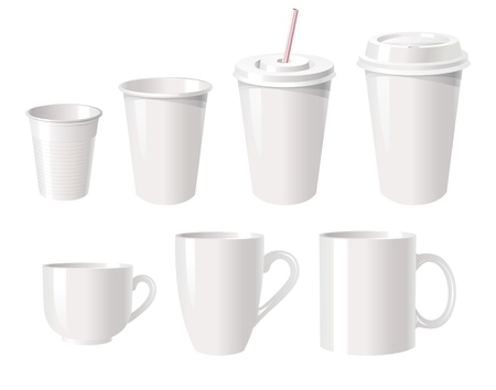 Collection of various white coffee cups isolated on white