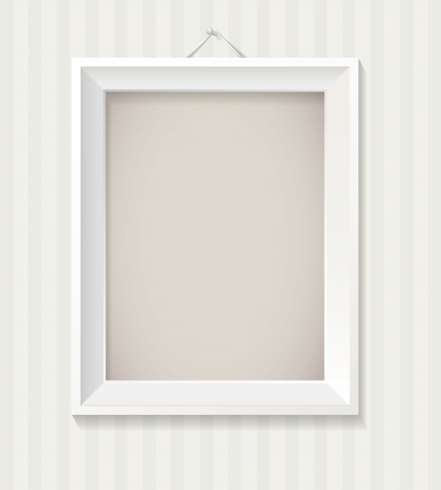 minimal style: White empty frame hanging on the wall, Vector eps 10