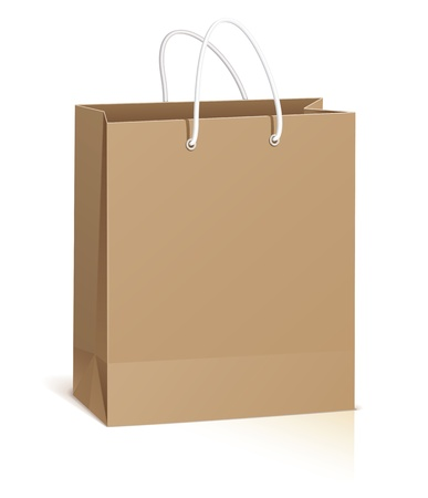 closeup on bags: Empty shopping bag isolated on white background, vector Illustration