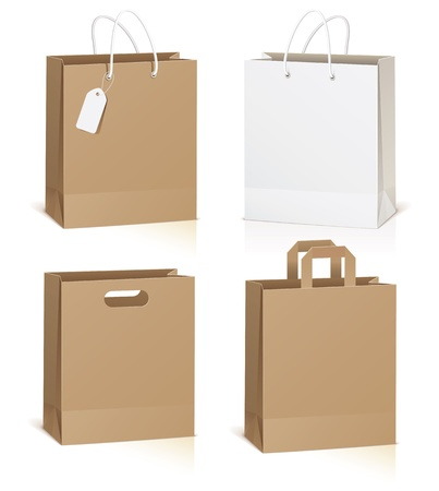 white paper bag: Empty shopping bag isolated on white background