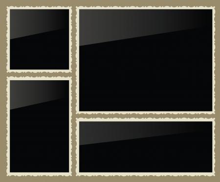 edges: Isolated photo frames, vector illustration, set