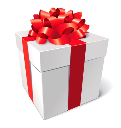 Gift box with bow, isolated on white background, vector Stock Vector - 16898865