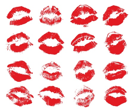 Red lips imprint isolated on white background, vector Stock Vector - 16909120