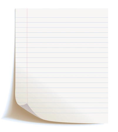 sheet of paper: Blank worksheet exercise book, Isolated, vector illustration
