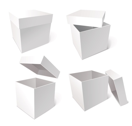 carrying box: Collection of blank boxes, vector illustration