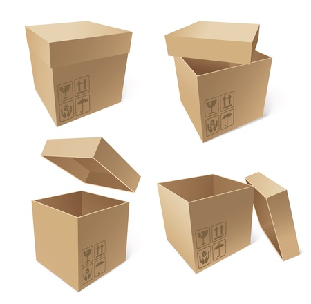 Collection of cardboard boxes isolated on white background Stock Vector - 16899383