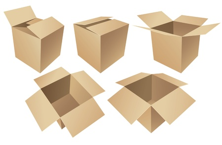Cardboard boxes isolated on white background Stock Vector - 16907326