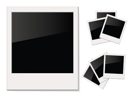 photo card: Empty shiny photo Polaroid, Isolated on white background Illustration