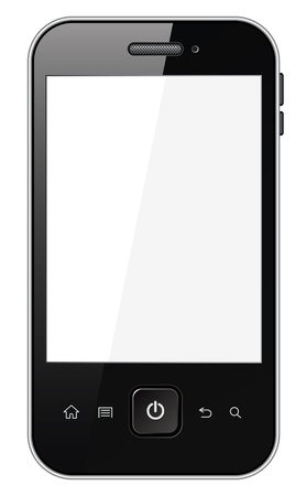 black phone and call: Smart phone with blank screen, Isolated on white background Illustration