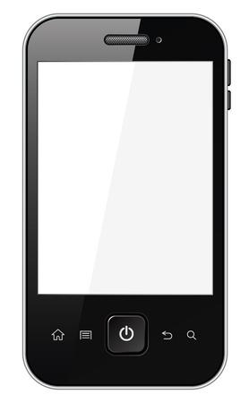 agenda electr�nica: Tel�fono inteligente con pantalla en blanco, aislado en fondo blanco