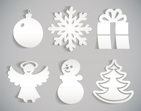christmas decoration: Christmas icon cut from paper illustration