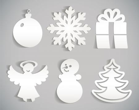 adornos navideños: Navidad icono de corte de papel ilustración