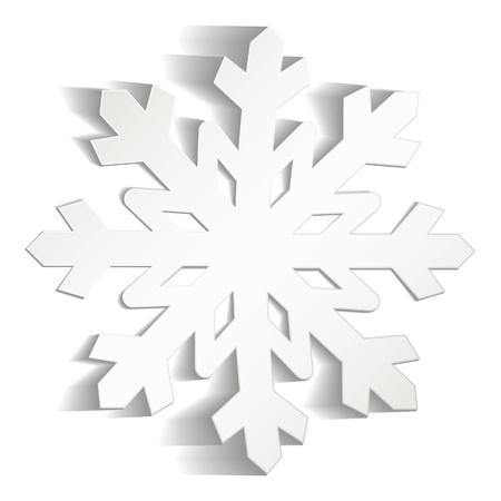 neige noel: Flocons de neige découpées dans du papier, icône de Noël Illustration