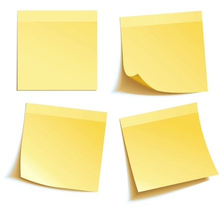 Nota palo amarillo aislado sobre fondo blanco