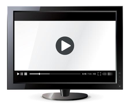 Liquid crystal display, Web video player illustration Stock Vector - 16907322