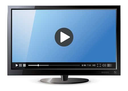 Frontal view of widescreen lcd monitor, Video player Vector