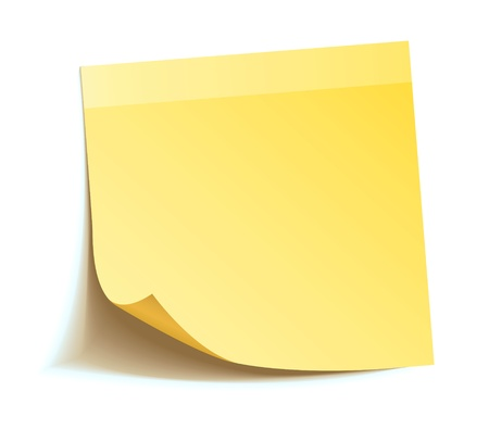 Gele stok notitie geïsoleerd op witte achtergrond