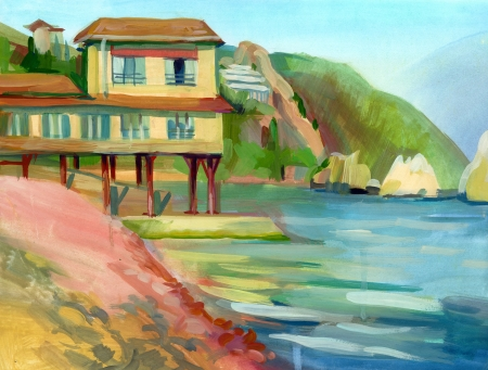 Crimean sketch in gouache, Gurzuf, Hand-drawn Stock Photo - 16906538