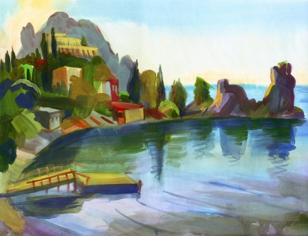 Crimean sketch in gouache, Hand-drawn Stock Photo - 16906539