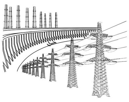 powerplant: Fabriek, energiecentrales en industriële gebouwen Stock Illustratie