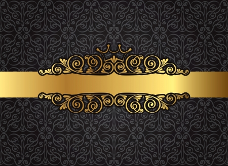 vintage gold frame: Vintage gold frame on damask black background, vector Illustration